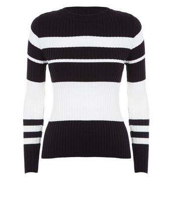 Petite Black Stripe Crew Neck Jumper New Look