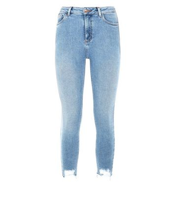 Petite Pale Blue Ripped Hem Skinny Jeans New Look