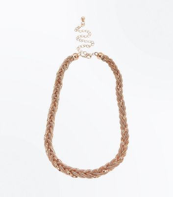 Rose Gold Plaited Chain Belt New Look