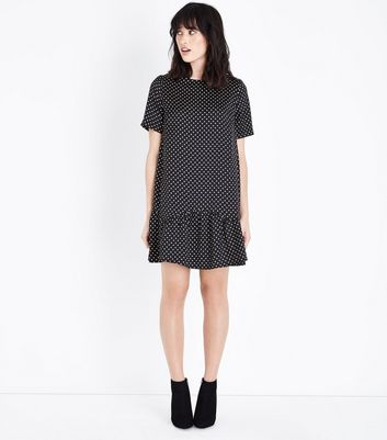 Black Polka Dot Print Drop Hem Dress New Look