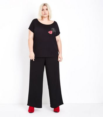 Curves Black Ooh La La Lips Slogan T-Shirt New Look