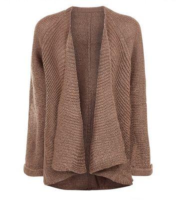 QED Light Brown Roll Cuff Waterfall Cardigan New Look