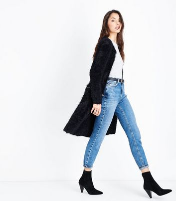 QED Black Zip Waist Fluffy Cardigan New Look