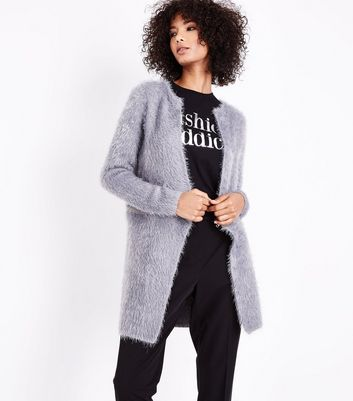 QED Grey Zip Waist Fluffy Cardigan New Look