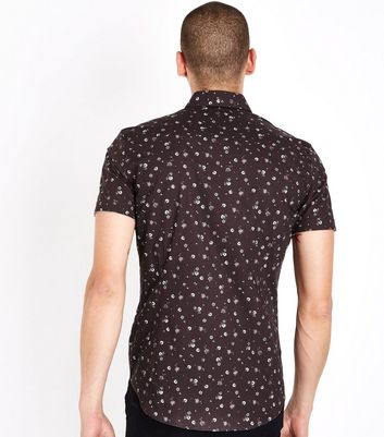 Burgundy Muscle Fit Ditsy Floral Print Shirt New Look