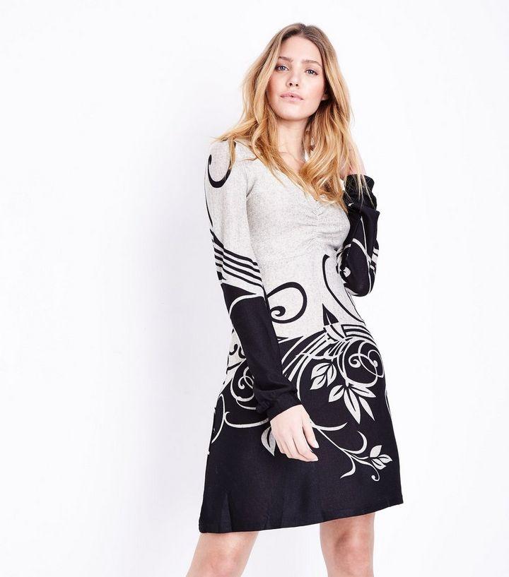 b798c321acfcf4 Apricot Off White 2 Tone Swirl Pattern Dress