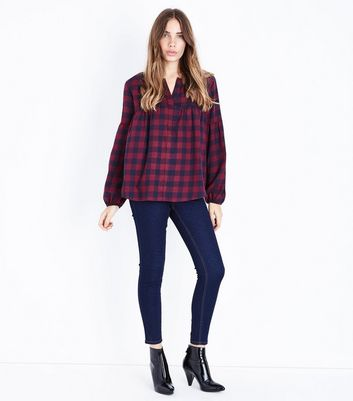Apricot Burgundy Check Smock Top New Look