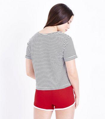 Teens Red Stripe Bonjour Slogan Pyjama Set New Look