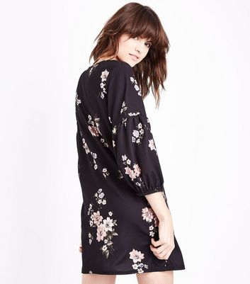 Black Floral Balloon Sleeve Tunic Dress New Look