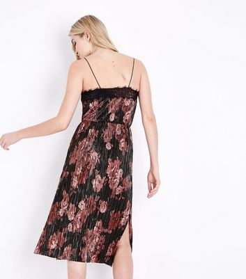 Black Floral Lace Trim Slip Dress New Look