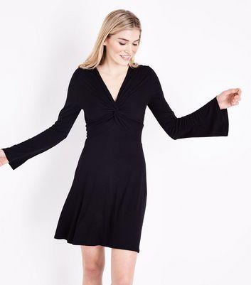 Black Twist Front Flared Sleeve Jersey Dress New Look