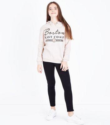 Teens Shell Pink Boston Slogan Print Hoodie New Look