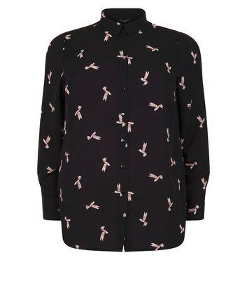 Curves Black Bird Print Shirt New Look