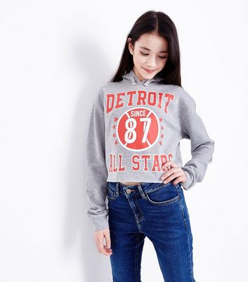 Girls Grey Marl Detroit All Stars Hoodie
