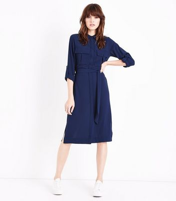 Navy Long Sleeve Pocket Front Shirt Dress New Look