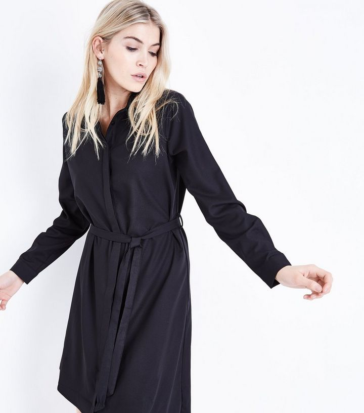 6e47b563f876 Black Asymmetric Hem Shirt Dress | New Look