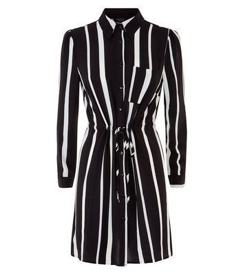 Petite Black Stripe Shirt Dress New Look