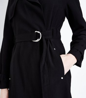 Black Patchwork Print V Neck Tunic Dress New Look