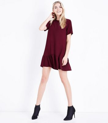 Burgundy Crepe Drop Hem Tunic Dress New Look