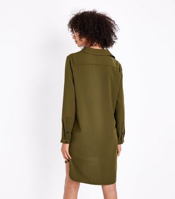 Khaki Long Sleeve Tunic Shirt Dress New Look
