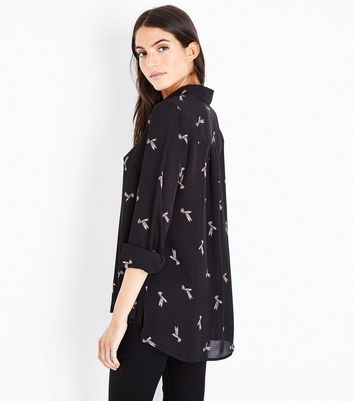 Black Bird Print Step Hem Shirt New Look