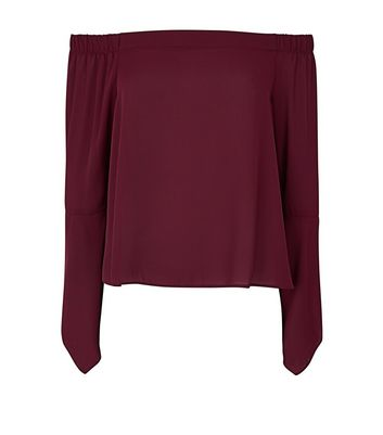 Burgundy Hanky Sleeve Bardot Neck Top New Look