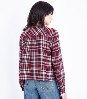 Red Check Pocket Front Shirt New Look