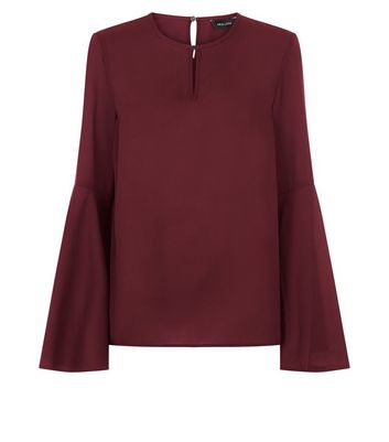 Burgundy Keyhole Front Bell Sleeve Top New Look