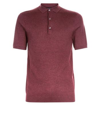 Burgundy Knitted Muscle Fit Polo T-Shirt New Look
