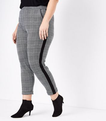 Curves Black Check Stripe Side Trousers New Look