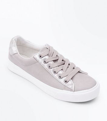 Girls Grey Leather-Look Lace Up Trainers