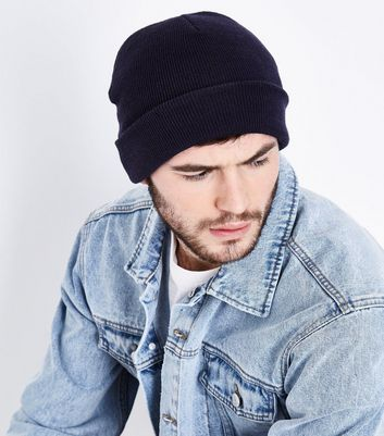 Navy Knitted Beanie New Look