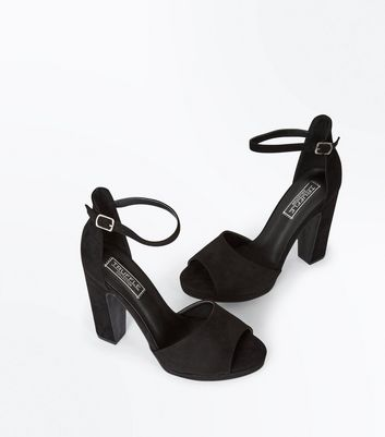 Black Suedette Platform Peep Toe Heels New Look