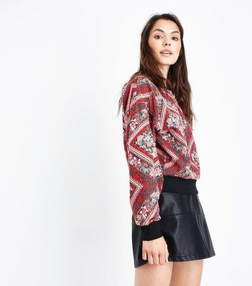 Red Jacquard Sweatshirt New Look