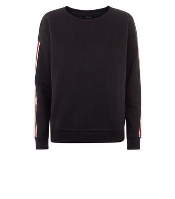 Black Tape Stripe Sleeve Sweatshirt New Look