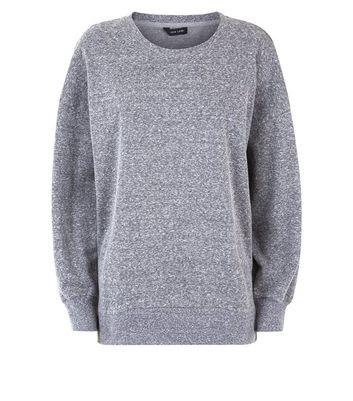 Grey Marl Side Split Sweatshirt New Look