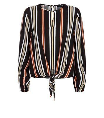 Black Stripe Tie Front Keyhole Top New Look