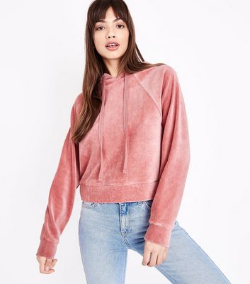 Shell Pink Velour Raglan Sleeve Hoodie New Look