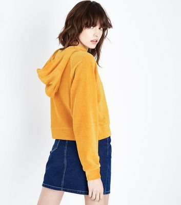 Yellow Velour Raglan Sleeve Hoodie New Look