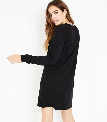 Black Manhattan Metallic Print Sweatshirt Dress New Look