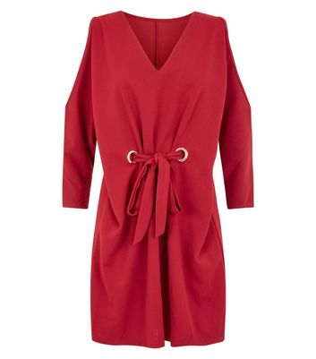 Cameo Rose Burgundy Eyelet Cold Shoulder Tunic Dress New Look