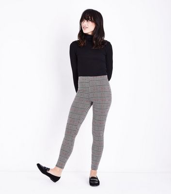 Red and Black Check Leggings New Look