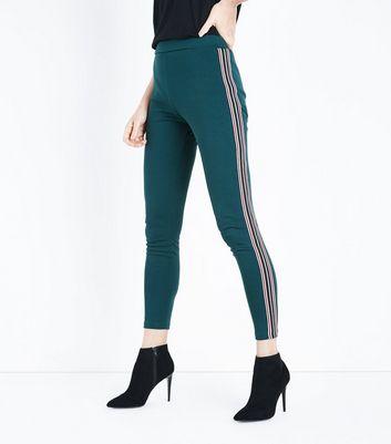 Dark Green Stripe Side Leggings New Look