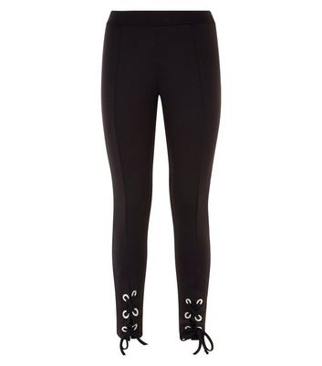 Black Lace Up Hem Leggings New Look