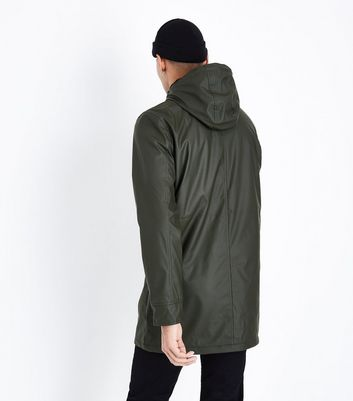 Khaki Fleece Lined Rain Coat New Look