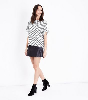 White Diagonal Stripe Frill Sleeve Top New Look