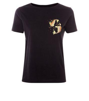 Black Pisces Symbol T-Shirt New Look