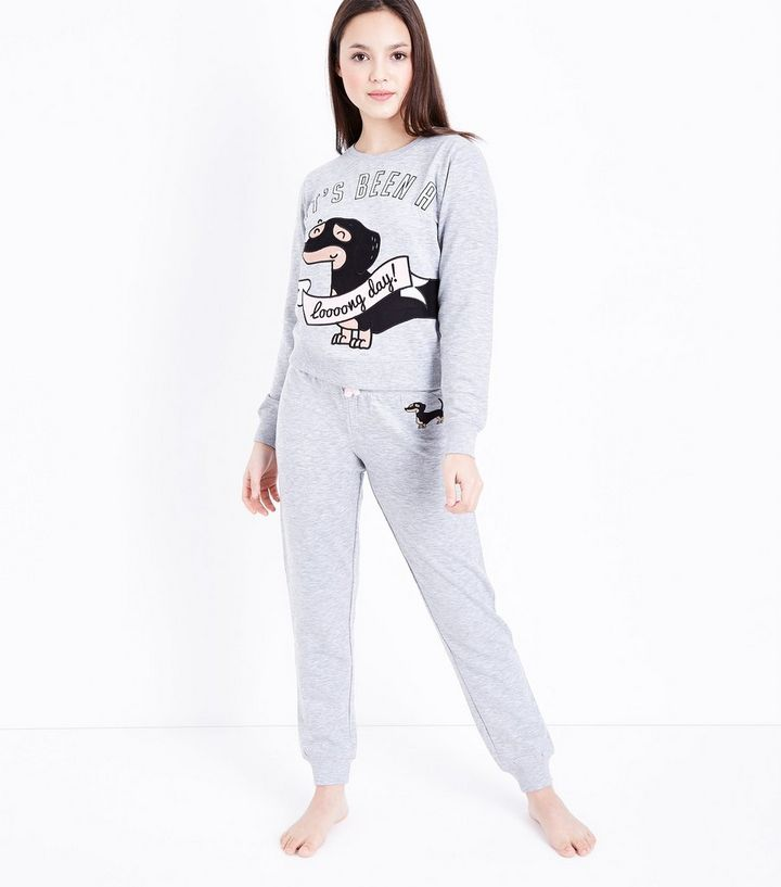 Girls Dark Grey Sausage Dog Pyjama Set  9a5b165d3