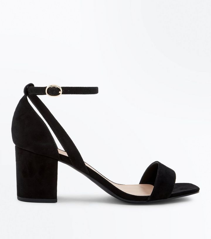 0839cf61afd2 Wide Fit Black Suedette Square Toe Heeled Sandals Add to Saved Items Remove  from Saved Items