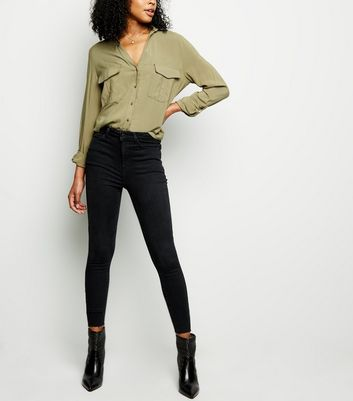 Black High Rise Fray Hem Super Skinny 'Lift & Shape' Jeans